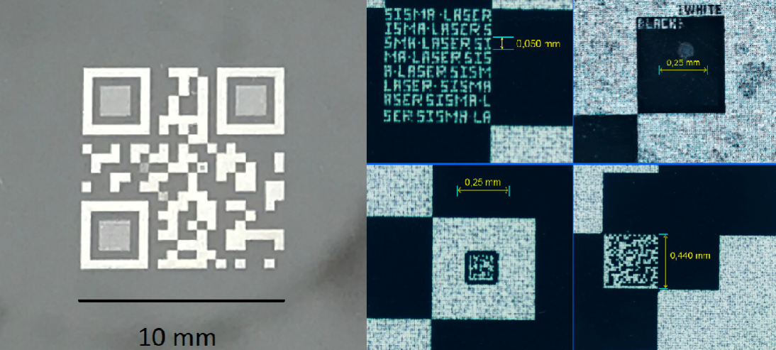 Figure 1 - Left: QR code marked with a UV nanosecond pulsed laser on a polished stainless steel. Right: Magnified view of the hidden microfeatures inside the QR code.